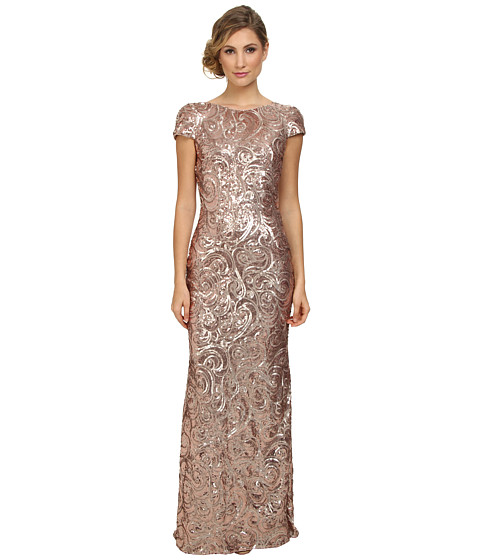 Badgley Mischka - Cap Sleeve Textured Sequin Cowl Back Gown (Blush) Women