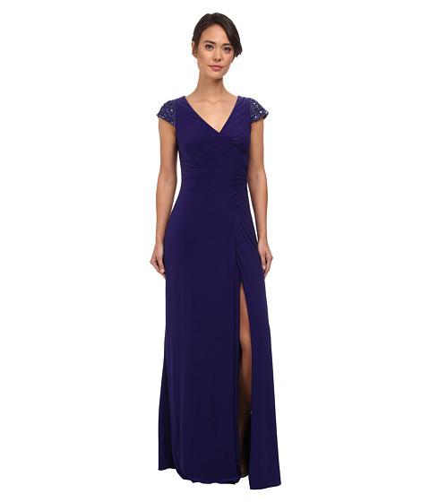 Badgley Mischka - Cap Sleeve V-Neck Gown (Violet) Women