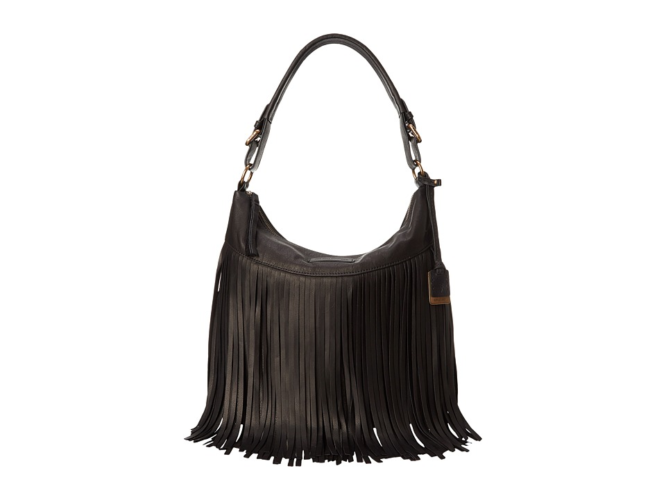 Frye - Heidi Fringe Hobo (Black Soft Vintage Leather) Hobo Handbags