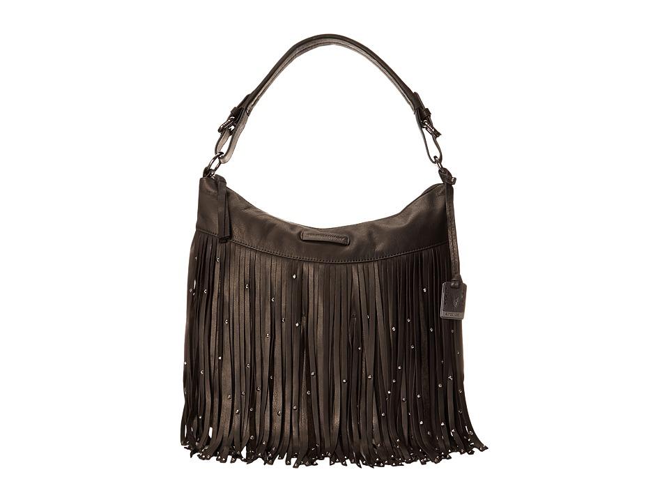 Frye - Heidi Stud Fringe Hobo (Black Soft Vintage Leather) Hobo Handbags