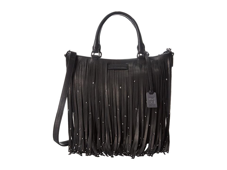 Frye - Heidi Stud Fringe Tote (Black Soft Vintage Leather) Tote Handbags