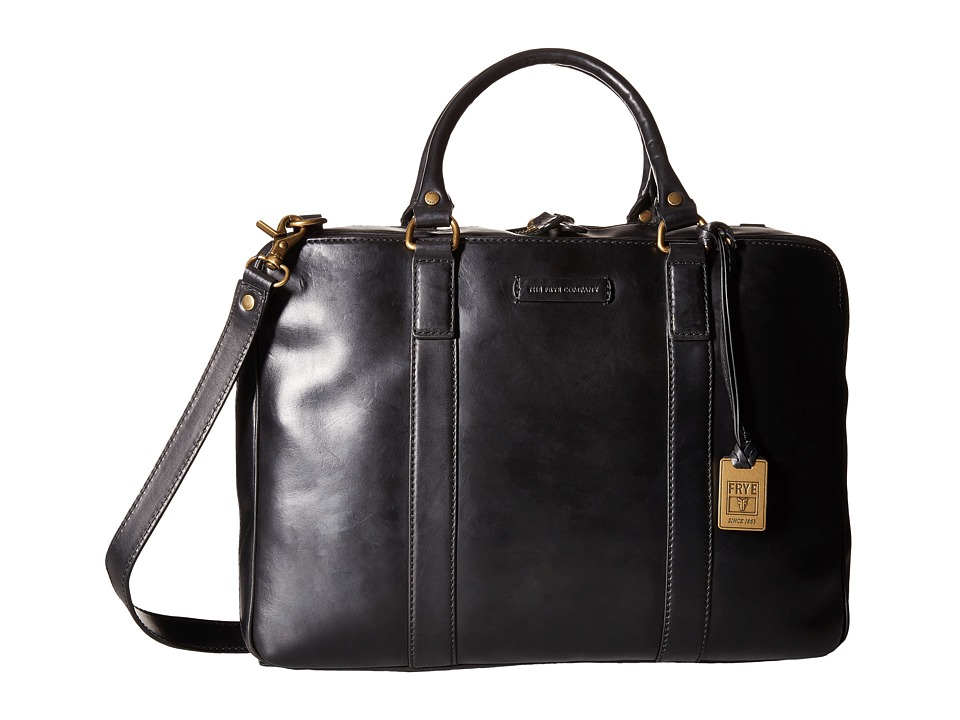 Frye - David Brief (Black Smooth Full Grain) Briefcase Bags