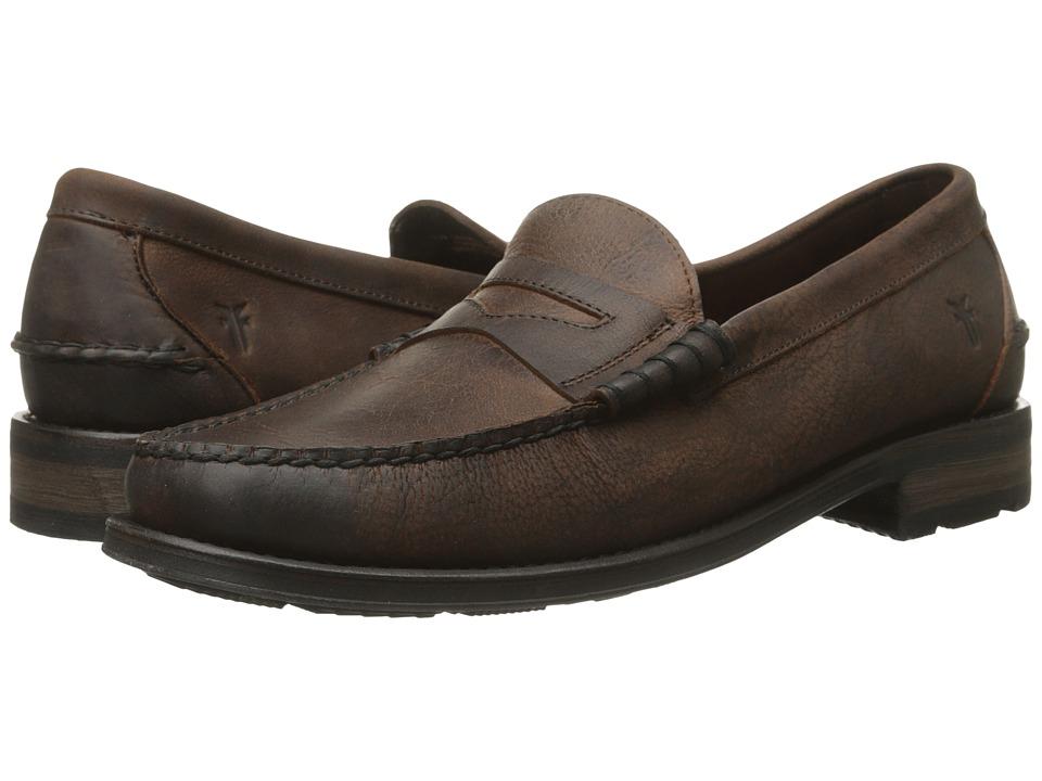 Frye - Adam Penny (Whiskey Textured Full Grain) Men's Slip on Shoes