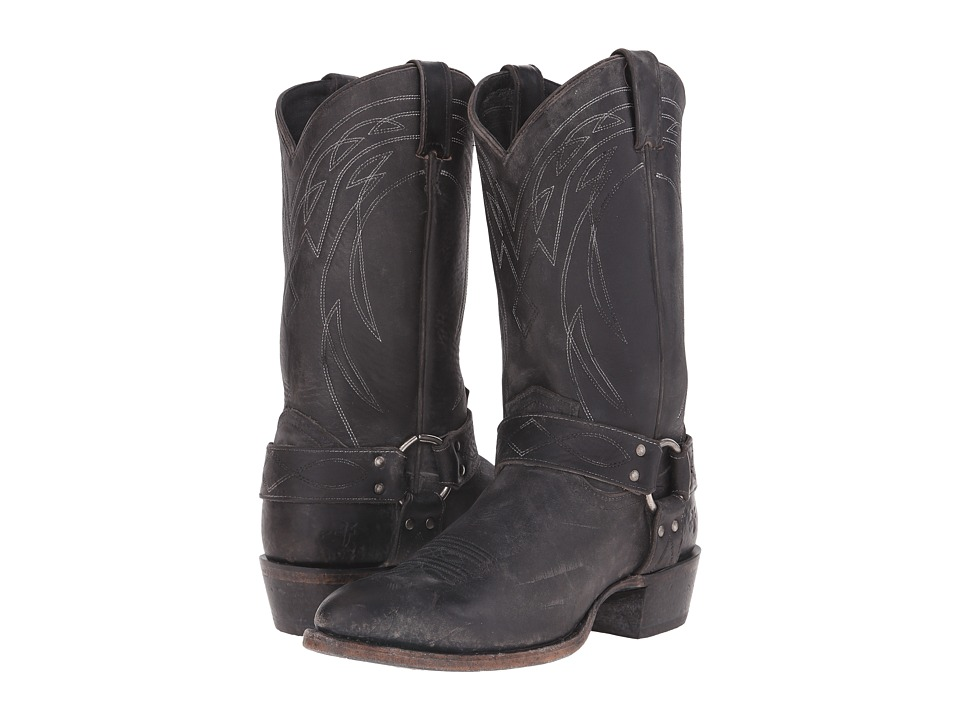 Frye Billy Harness (Black Polished Stonewash) Cowboy Boots