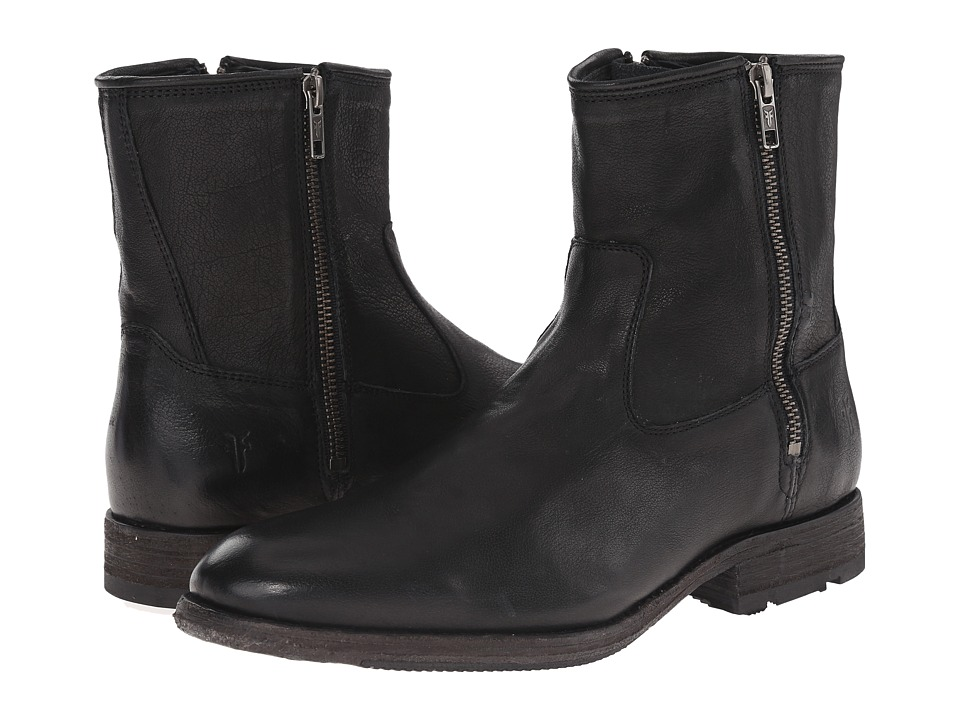 Frye - Ethan Double Zip (Black Buffalo Leather) Men's Dress Zip Boots