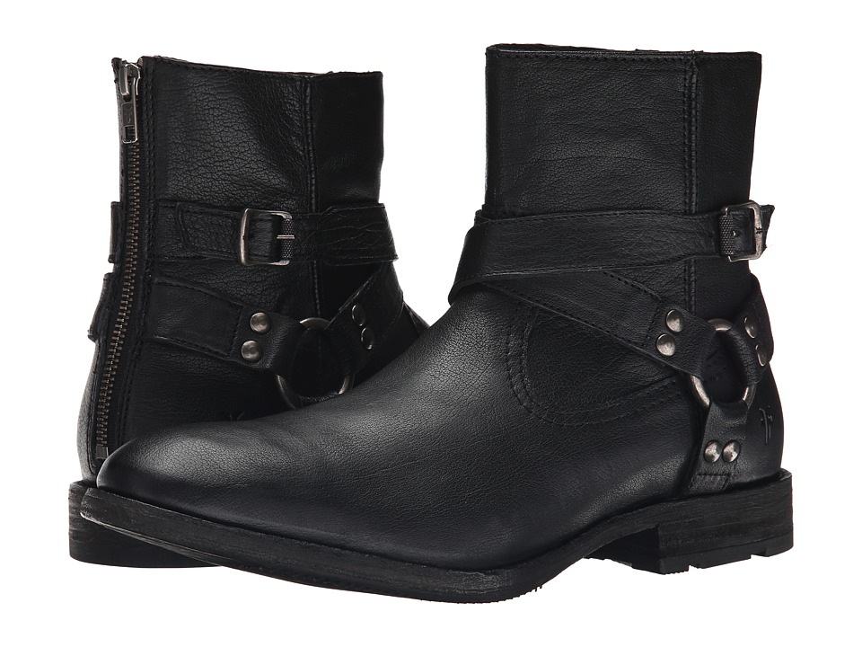 Frye Ethan Harness Black Buffalo Leather Cowboy Boots