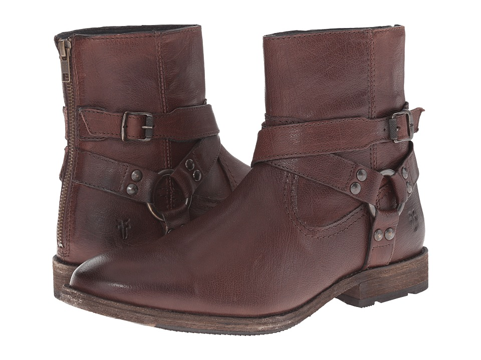 Frye Ethan Harness (Dark Brown Buffalo Leather) Cowboy Boots