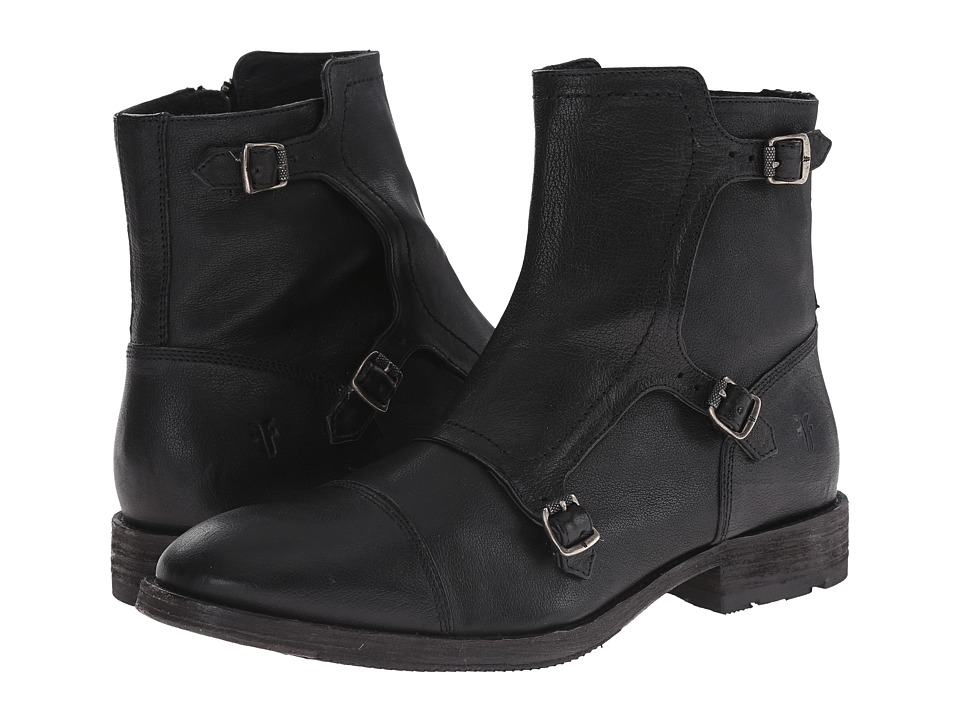 Frye Ethan Triple Monk (Black Buffalo Leather) Men