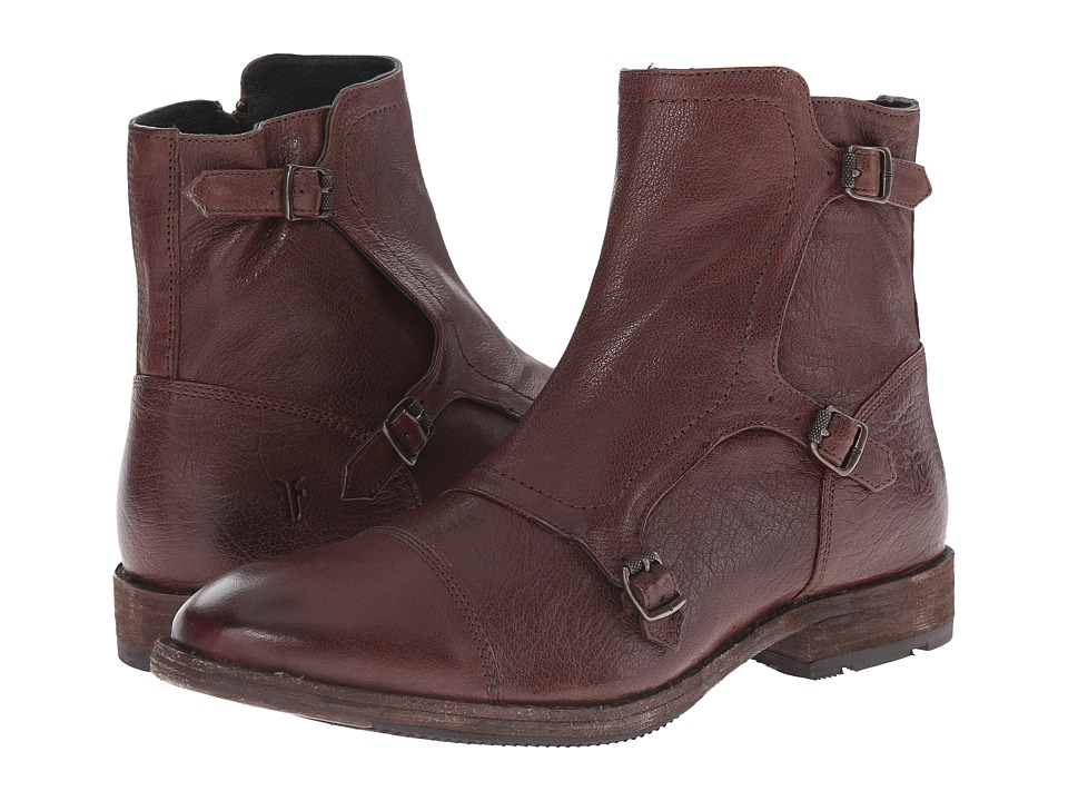 Frye Ethan Triple Monk (Dark Brown Buffalo Leather) Men