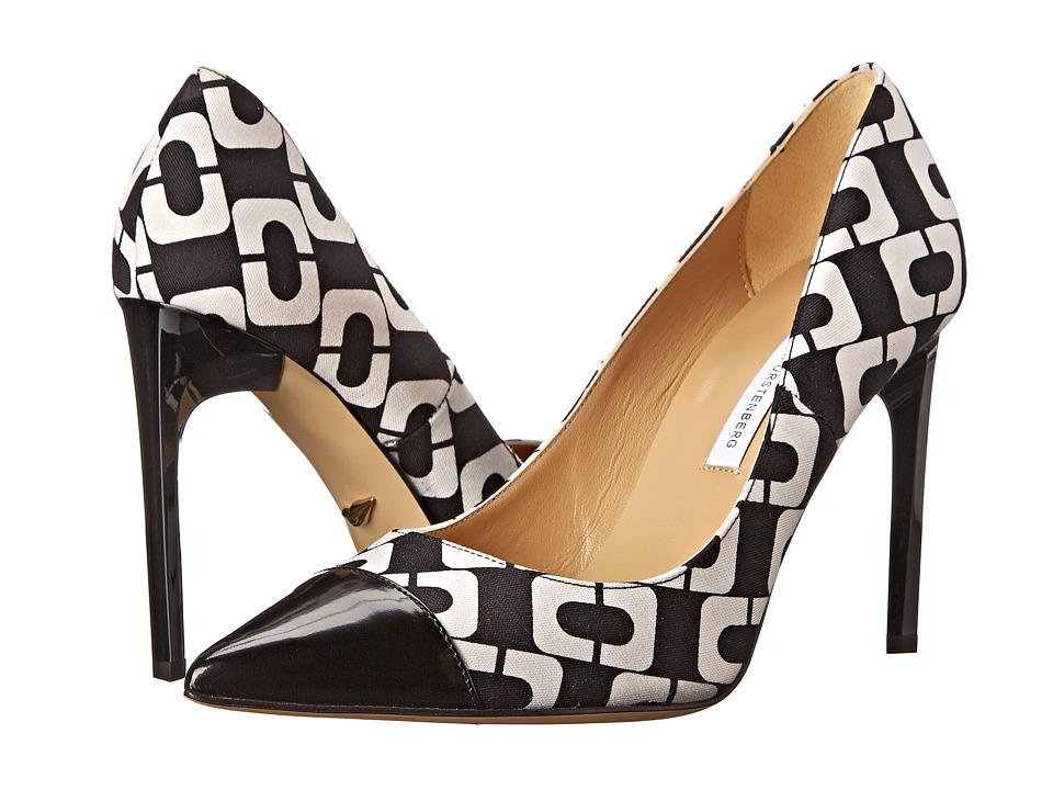 Diane von Furstenberg - Brae (Black Shiny Calf/Chainlink Print) High Heels