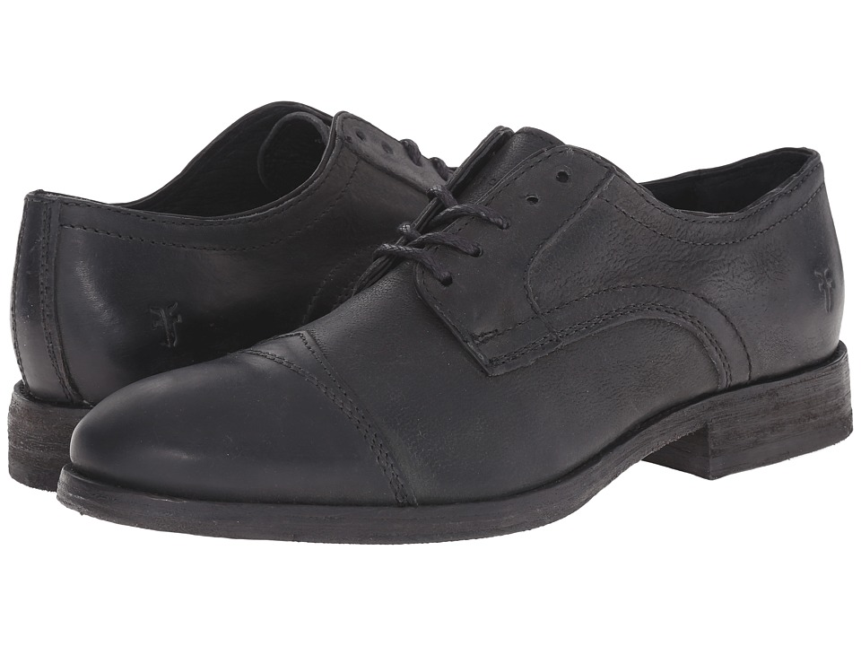 Frye Everett Cap Toe Black Distressed Nubuck Mens Lace Up Cap Toe Shoes