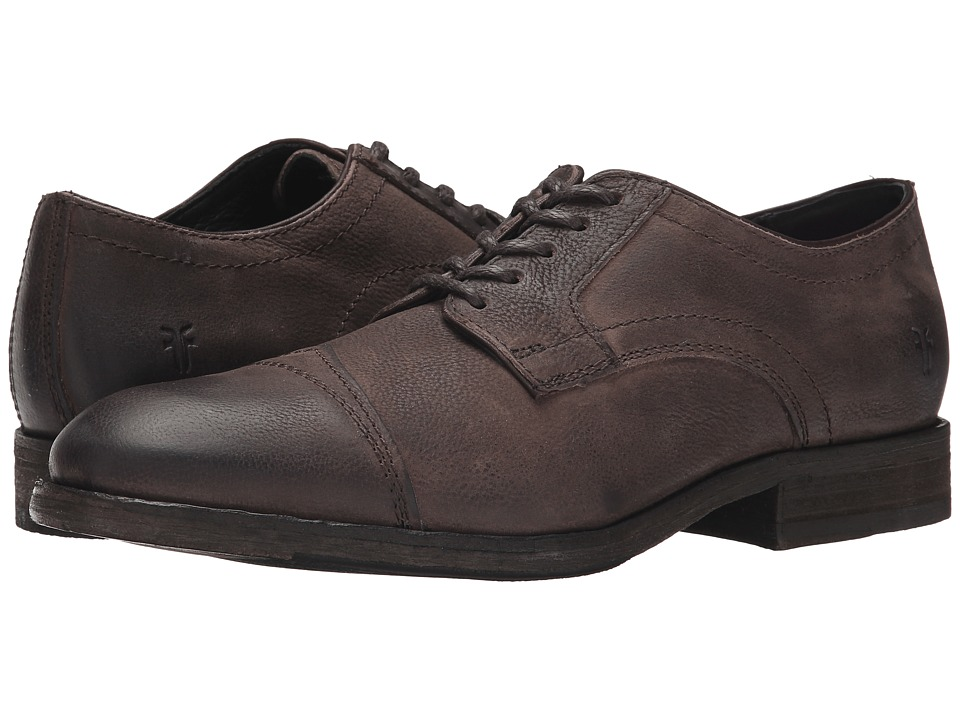 Frye Everett Cap Toe (Dark Brown Distressed Nubuck) Men