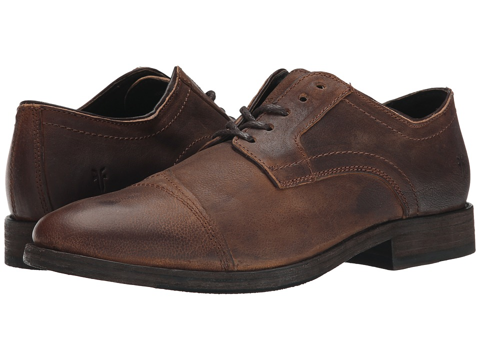 Frye - Everett Cap Toe (Tan Distressed Nubuck) Men's Lace Up Cap Toe Shoes