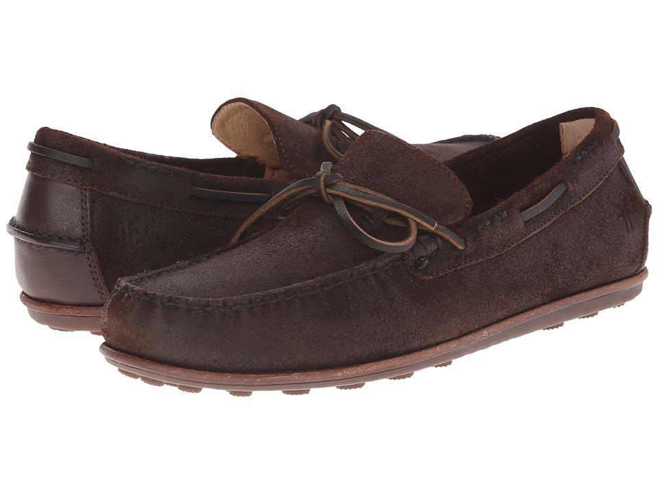 Frye - Harris Tie (Dark Brown Waxed Suede) Men's Slip on Shoes