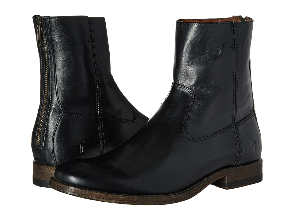 Frye - Jacob Back Zip (Black Antiqued Full Grain) Men's Dress Zip Boots