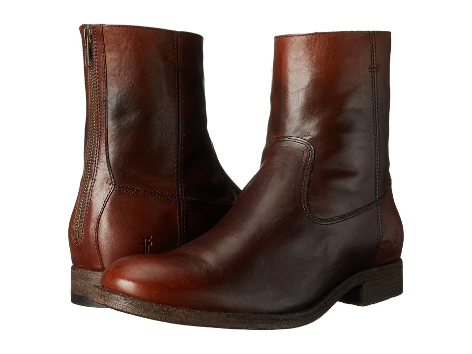 Frye Jacob Back Zip (Redwood Antiqued Full Grain) Men