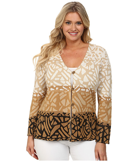 Pendleton - Plus Size Park Blocks Cardigan (Black/Spring Khaki/Ivory) Women's Sweater