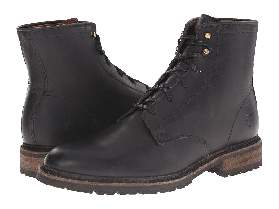 Frye James Lug Lace Up (Black Smooth Full Grain) Men