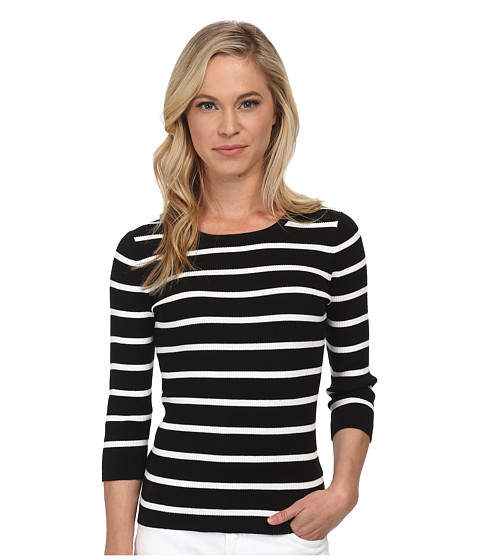 Pendleton - Petite 3/4 Sleeve Stripe Pullover (Black/Ivory Stripe) Women's Long Sleeve Pullover