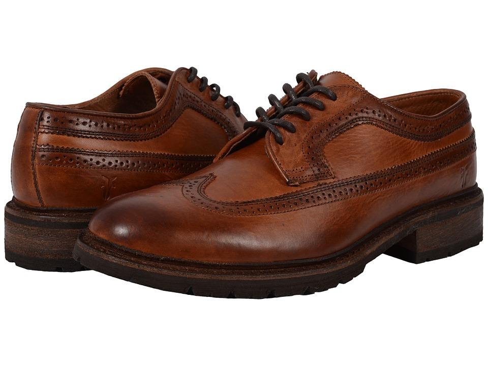 Frye James Lug Wingtip Cognac Smooth Full Grain Mens Lace Up Wing Tip Shoes