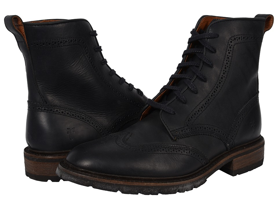 Frye - James Lug Wingtip Boot (Black Smooth Full Grain) Men's Lace-up Boots