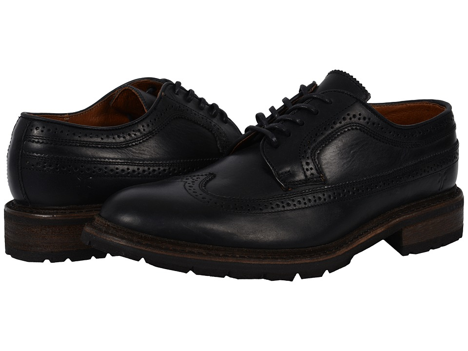 Frye - James Lug Wingtip (Black Smooth Full Grain 2) Men's Lace Up Wing Tip Shoes
