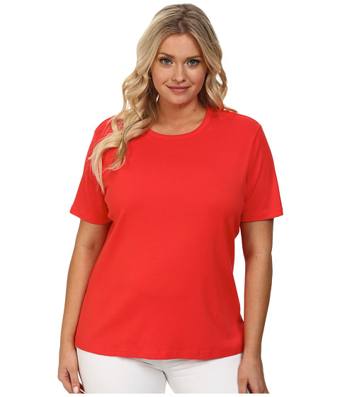 Pendleton - Plus Size S/S Rib Tee (Poppy Red) Women's Short Sleeve Pullover