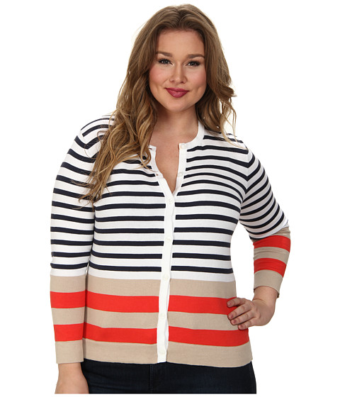 Pendleton - Plus Size Placed Stripe Cardigan (White/Indigo Multi) Women's Sweater