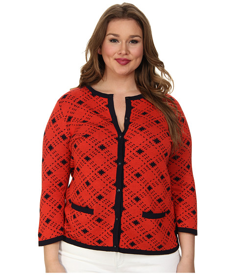 Pendleton - Plus Size Bias Plaid Cardigan (Poppy Red/Midnight Navy) Women's Sweater