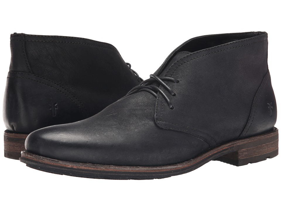 Frye Oscar Chukka (Black Textured Full Grain) Men