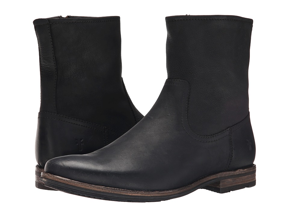 Frye - Oscar Inside Zip (Black Textured Full Grain) Men's Zip Boots