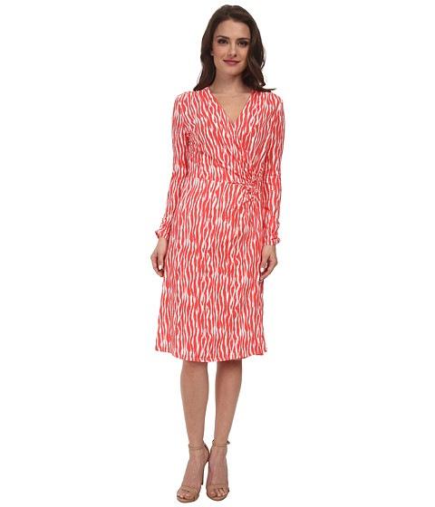 Pendleton - Petite Breezeway Dress (Salmonberry/Ivory Zebra Knit Print) Women's Dress