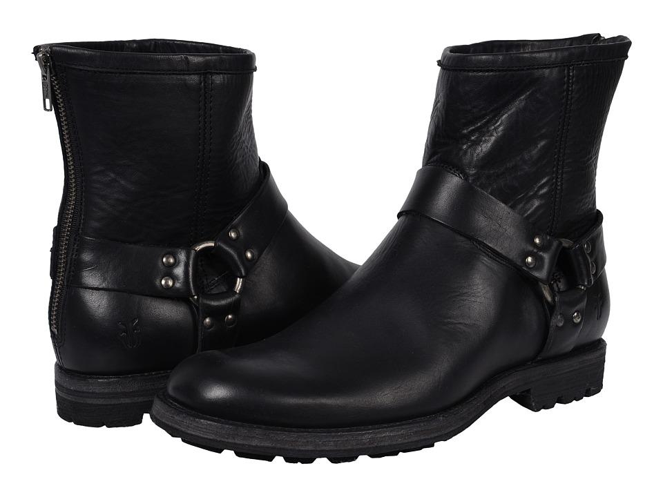 Frye - Phillip Lug Harness (Black Oiled Vintage) Men's Shoes