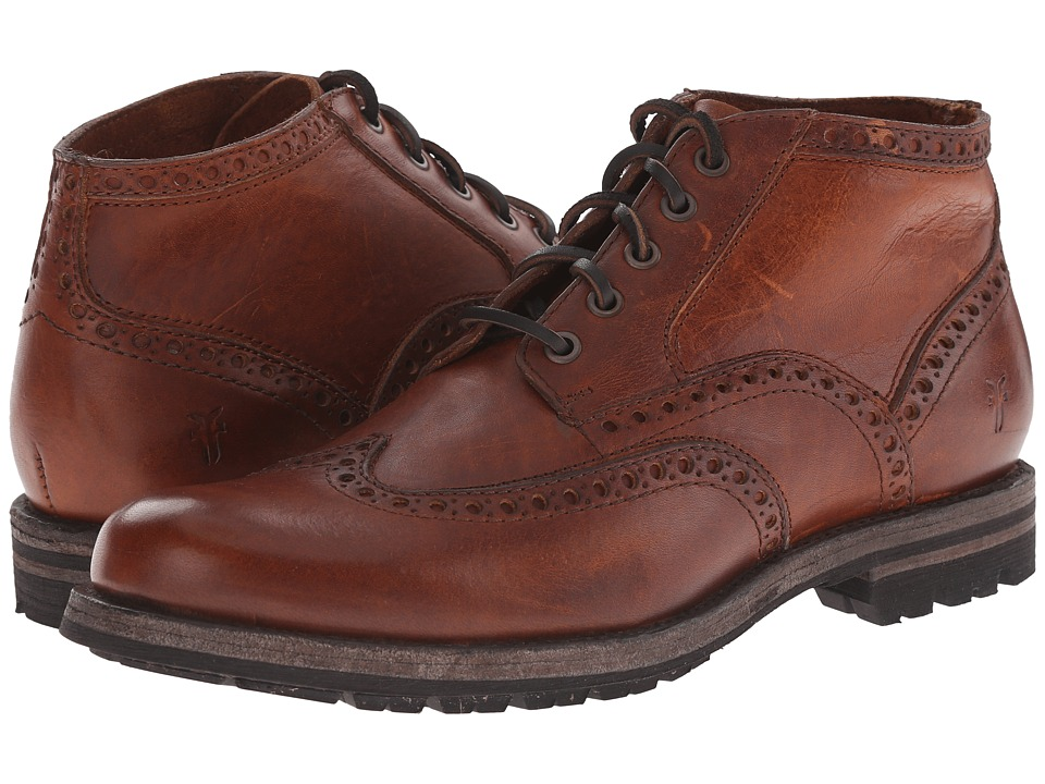 Frye - Phillip Lug Wingtip Chukka (Cognac Oiled Vintage) Men's Lace Up Wing Tip Shoes