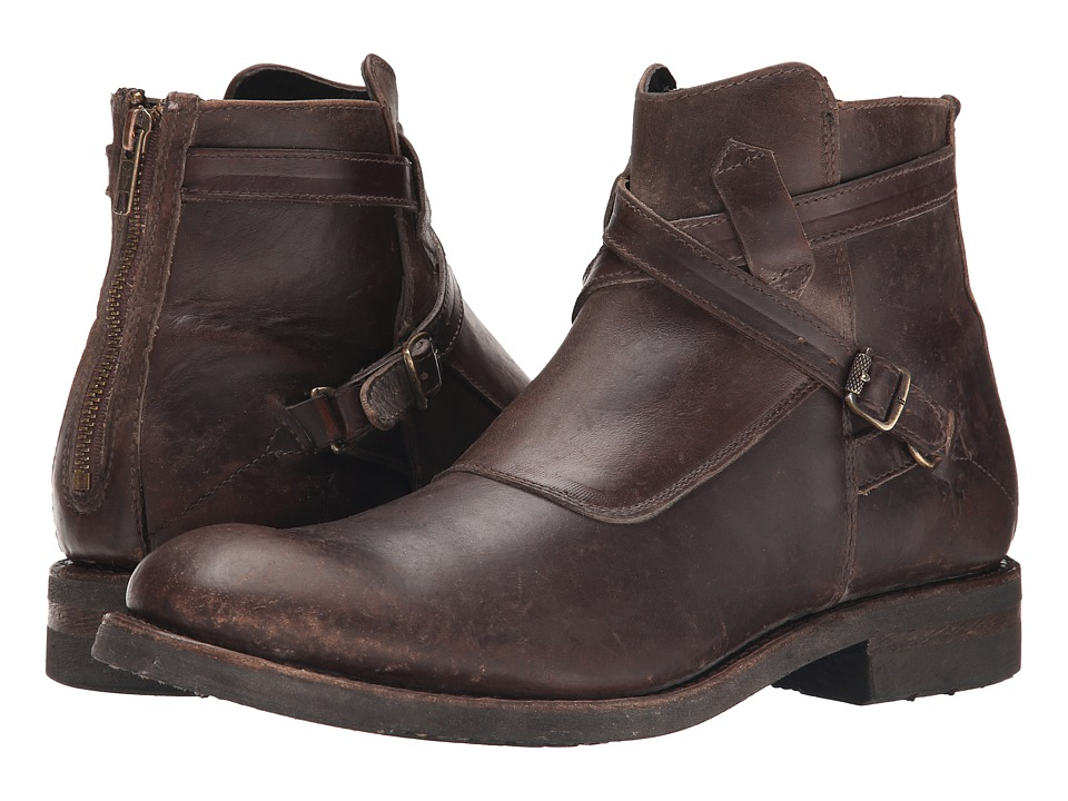 Frye Stone Cross Strap (Espresso Polished Stonewash) Men
