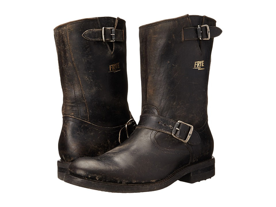 Frye - Stone Engineer (Black Polished Stonewash) Men's Pull-on Boots