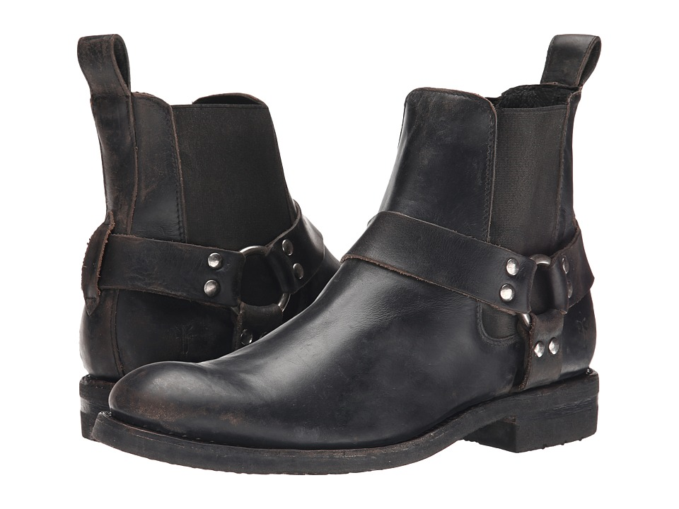 Frye - Stone Harness Chelsea (Black Polished Stonewash) Men's Pull-on Boots