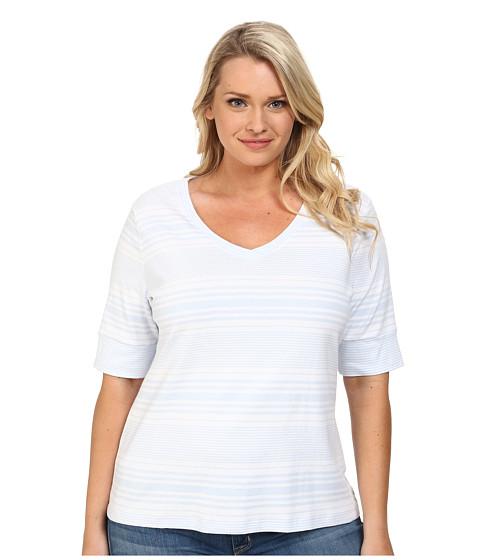 Pendleton - Plus Size Stripe V-Neck Rib Tee (White/Kentucky Blue) Women