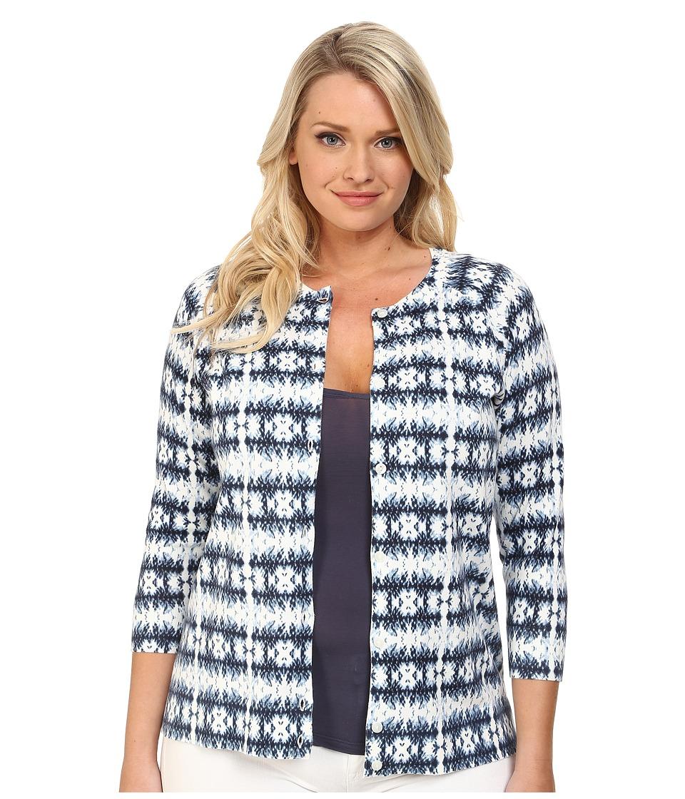 Pendleton - Plus Size Boardwalk Print Cardigan (Indigo Batik Knit Print) Women's Sweater