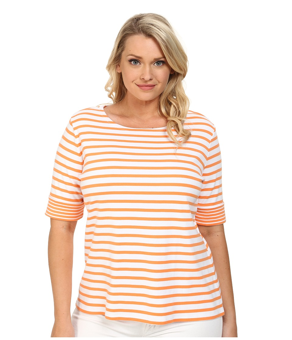 Pendleton - Plus Size Double Stripe Rib Tee (White/Orange Peel Stripe) Women
