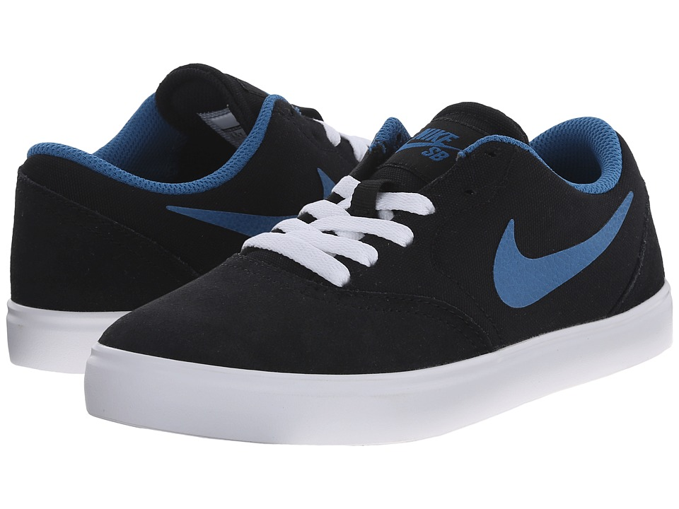 Nike SB Kids - SB Check (Big Kid) (Black/White/Brigade Blue) Boys Shoes