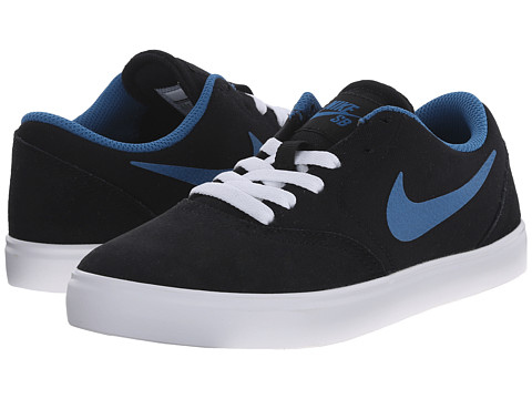 Nike SB Kids - SB Check (Big Kid) (Black/White/Brigade Blue) Boys Shoes