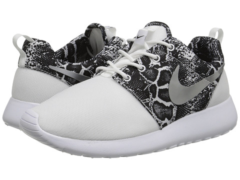 Nike - Roshe Run (White/Black/Metallic Silver Print) Women's Shoes