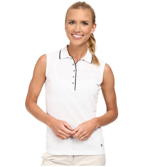 Bogner - Ivola Sleeveless Polo Shirt (White/Black) Women's Sleeveless