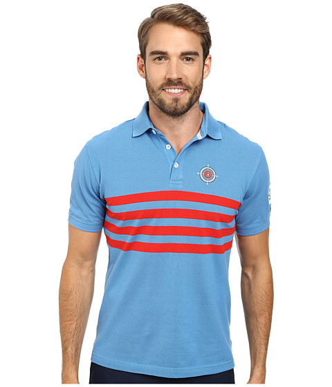 Bogner - Angus Stripe Polo Shirt (Ocean Blue/Red) Men's Short Sleeve Pullover