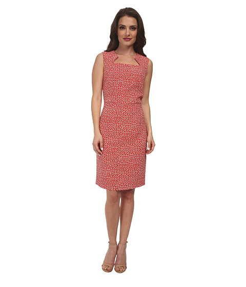 Pendleton - Petite Sheila Print Sheath (Poppy Red/Oxford Tan Geo Print) Women's Dress