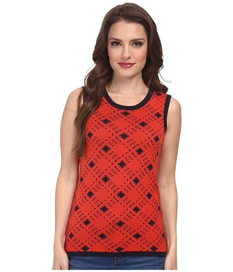 Pendleton - Petite Bias Plaid Shell (Poppy Red/Midnight Navy) Women's Sweater
