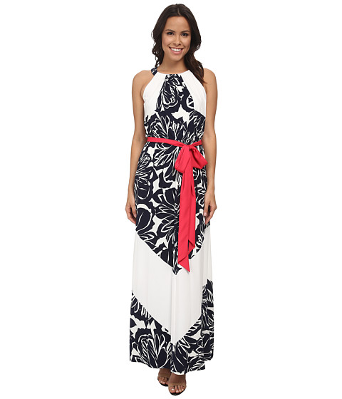 Vince Camuto - Halter Blouson Maxi w/ Color Block Sash (Navy/Ivory) Women's Dress