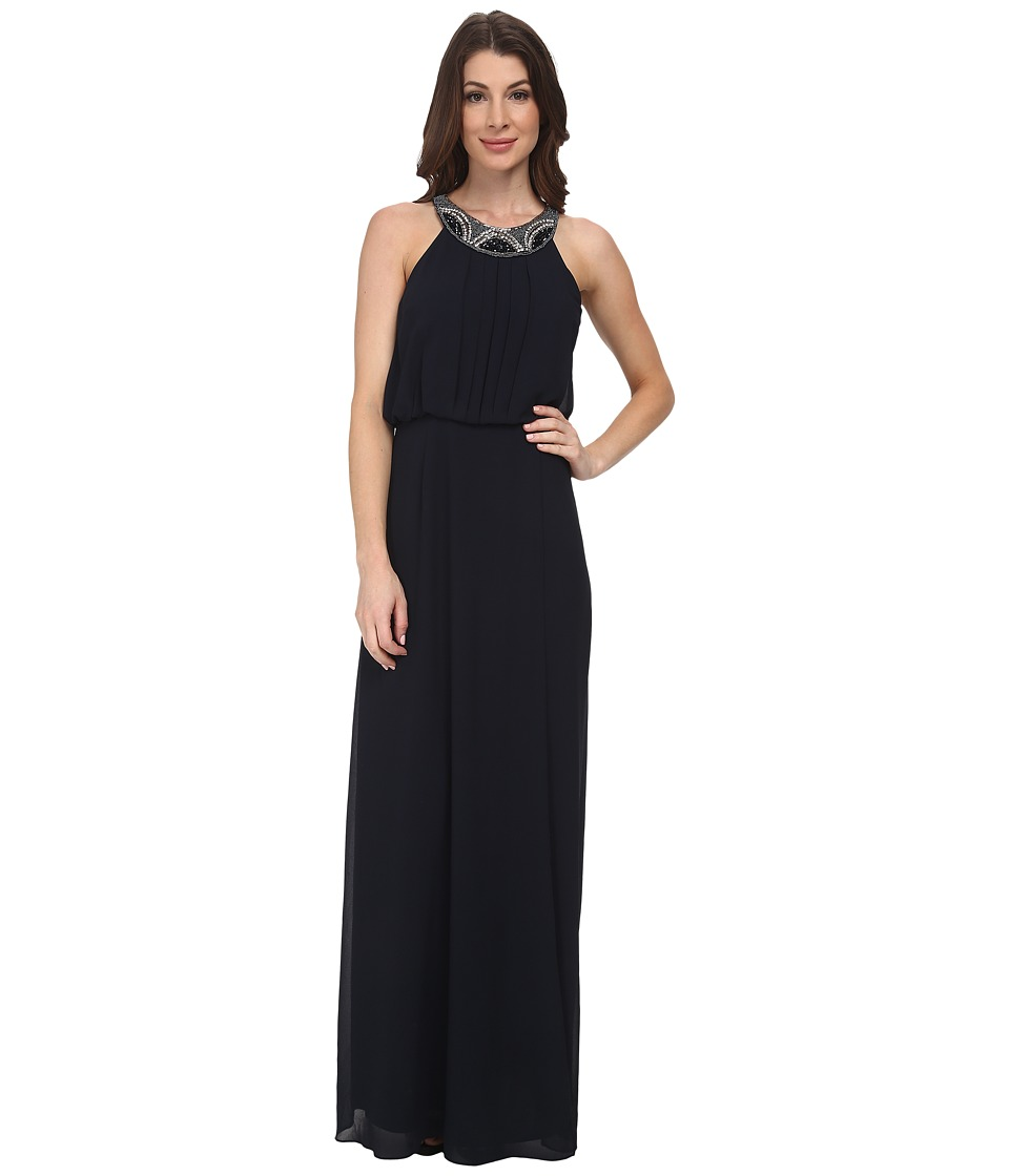 Vince Camuto - Chiffon Gown w/ Novelty Necklace (Navy) Women's Dress