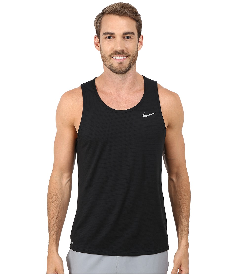 Nike - Dri-FIT Contour Running Singlet (Black/Reflective Silver) Men's Workout